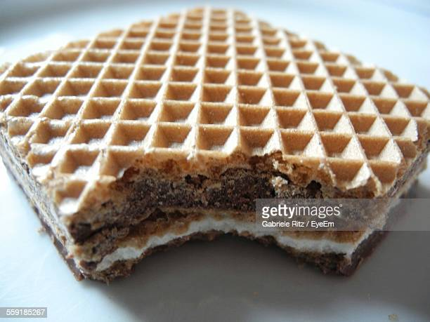 Close-Up Of Waffled Biscuit