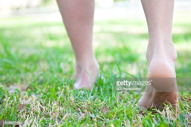 Closeup of Walker's Feet on Green Grass