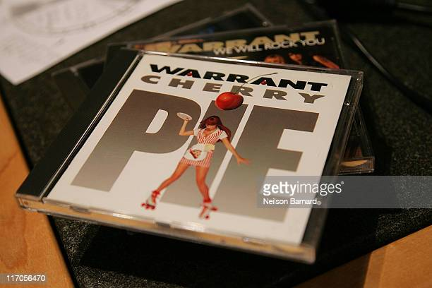 Closeup of 'Warrant' cds 'Cherry Pie' and 'We Will Rock You' during an appeance and performance session by the band at Rockline Studios on May 7 2008...