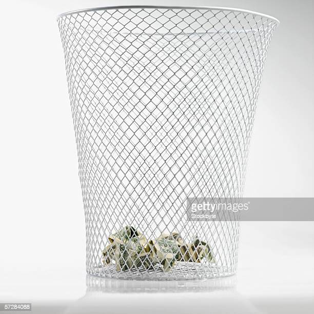 Close-up of wastepaper basket