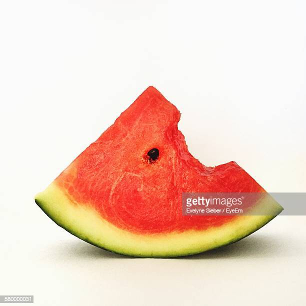 Close-Up Of Watermelon Against White Background