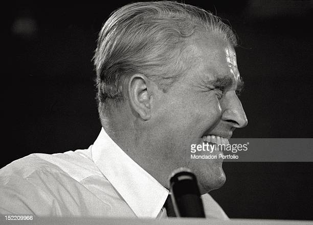 Closeup of Wernher von Braun Germanborn USA naturalized scientist and engineer One of the leading figures in the development of rocket technology in...