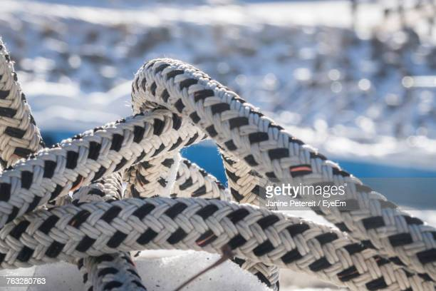 Close-Up Of White And Black Striped Ropes