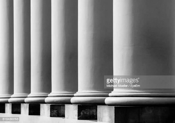 Close-up of white columns in a row