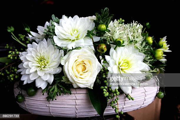 Close-Up Of White Flowers In Basket