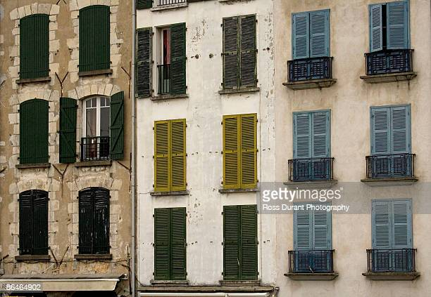 Close-up of windows in apartment building, France