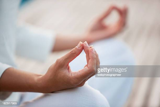 Closeup of woman in yoga posture