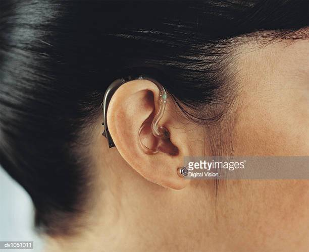 Close-up of Woman Wearing a Hearing Aid