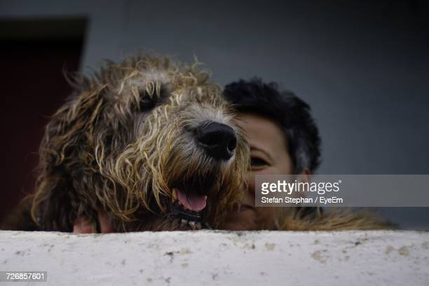 Close-Up Of Woman With Irish Wolfhound