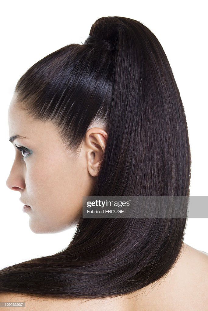 Close-up of woman's ponytail : Stock Photo