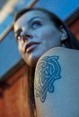 Close-up of woman's tattoo