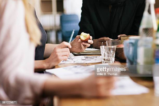 Close-up of women having a breakfast business meet