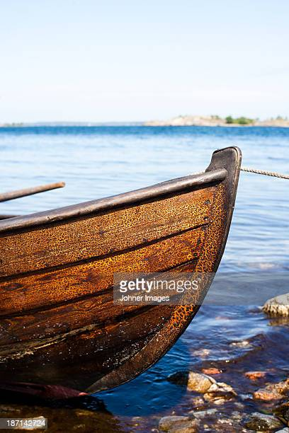 Close-up of wooden boat