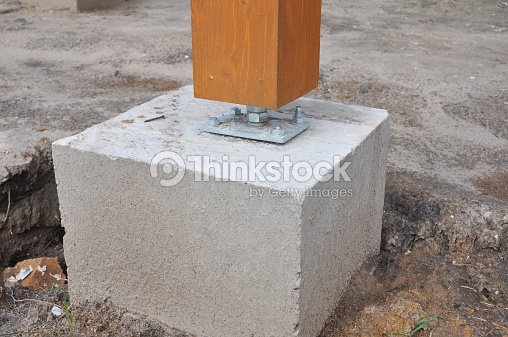 closeup of wooden pillar on the construction site with screw stock photo thinkstock. Black Bedroom Furniture Sets. Home Design Ideas