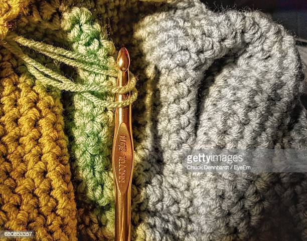 Close-Up Of Wool And Knitting Needle