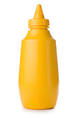 Close-up of yellow mustard bottle on a white background