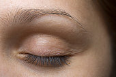 Close-up of young woman's closed eye