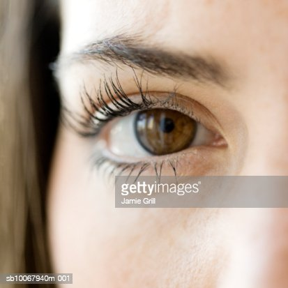 Close-up of young woman's eye, differential focus : Stock Photo