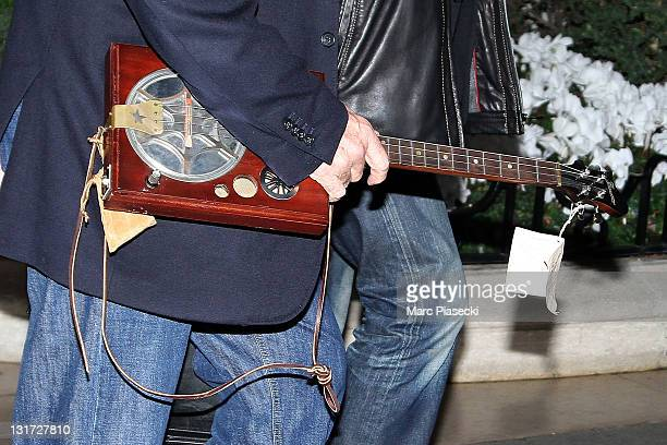 A closeup on actor Johnny Depp's banjo on November 7 2011 in Paris France