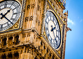 Close-up on Big Ben, the clock at the British parliament, on a cloudy day