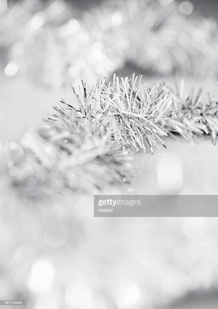 Closeup on Christmas tree tinsel