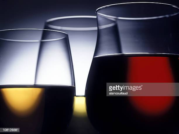 Close-Up on Glasses of Red, White and Rose Wine