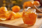 Closeup on jar with orange jam