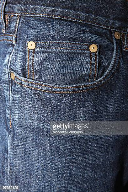 Close-up on the front pockets of a blue jeans