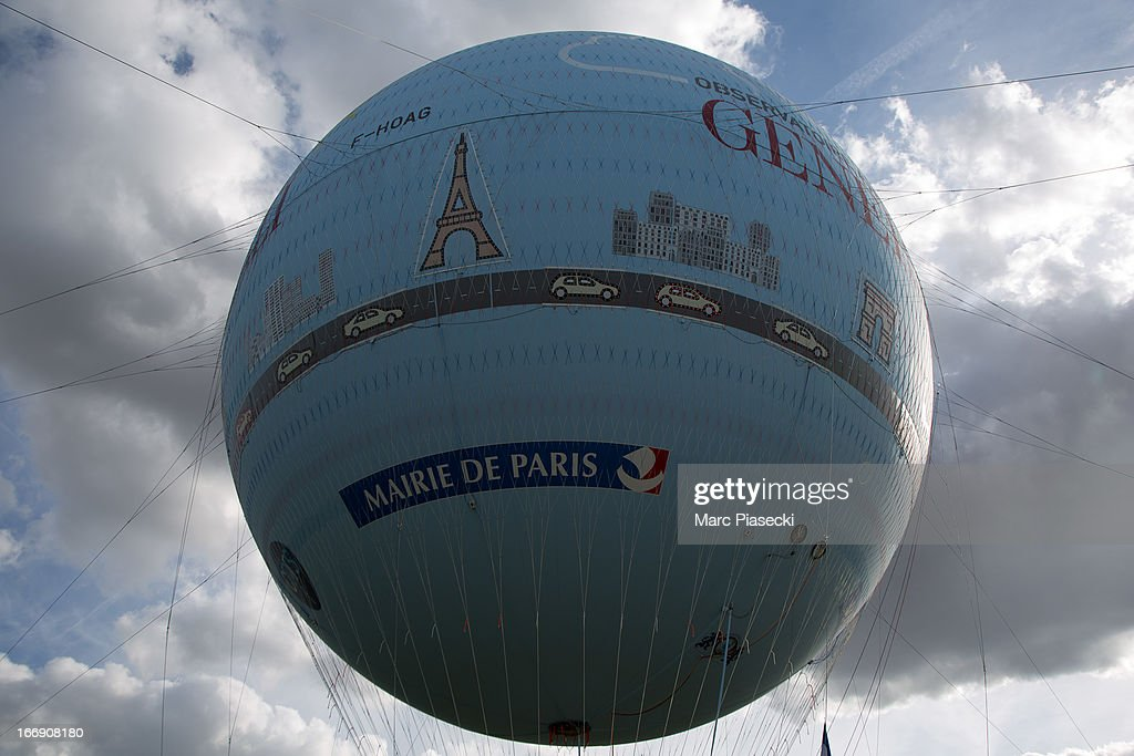 A close-up on the new Paris Observatory Atmospheric Generali balloon, at Parc Andre Citroen on April 18, 2013 in Paris, France. The balloon will monitor air pollution which it will then display via a LED light device.