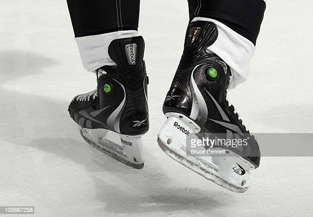 A closeup on the skates of Sidney Crosby of the Pittsburgh Penguins as he skates against the Philadelphia Flyers at the Wells Fargo Center on October...