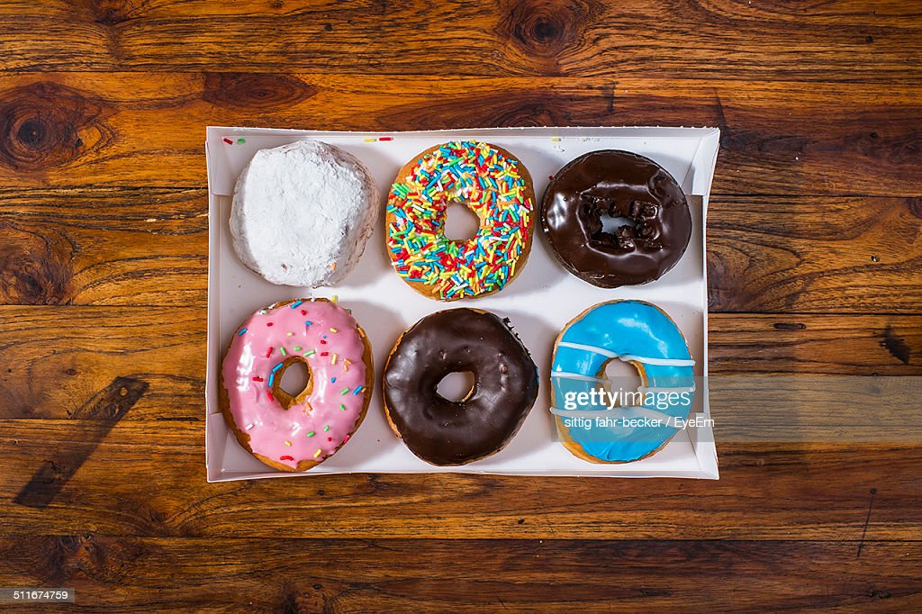 Close-up overhead view of doughnuts