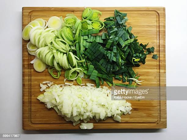 Close-Up Overhead View Of Ingredients On Chopping Board