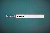 Closeup Password input box in internet browser on computer screen