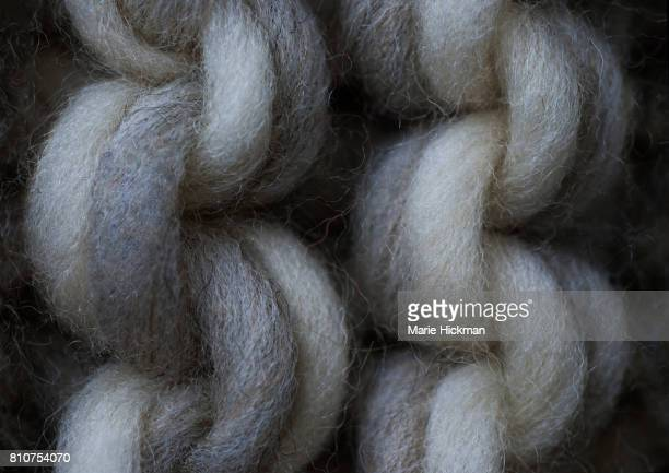 Close-up photo of gray and white wool crochet stitches.