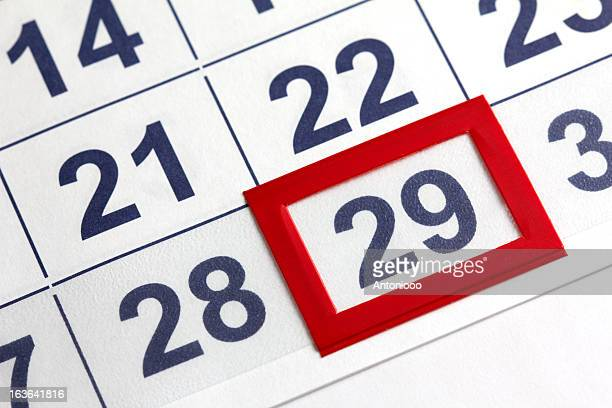 Close-up picture of a calendar with 29 enclosed in red