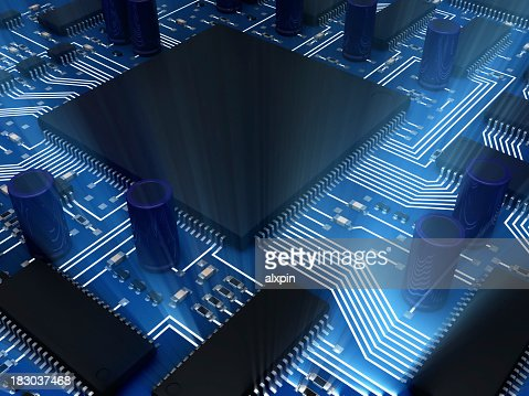 Closeup picture of an illuminated circuit board