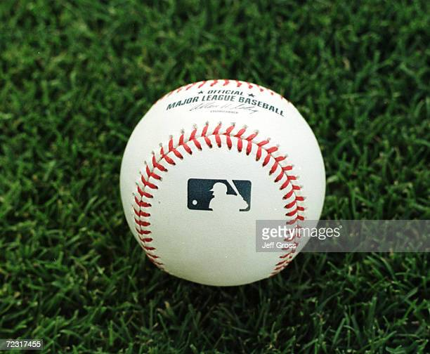 A closeup picture shows one of the new Major League Baseball official game balls lying on the grass during the Detroits Tigers game against the...