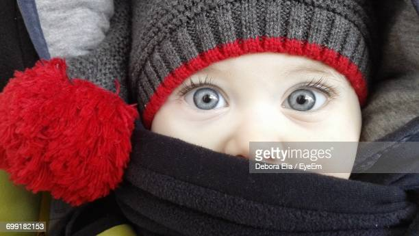 Close-Up Portrait Child With Blue Eyes