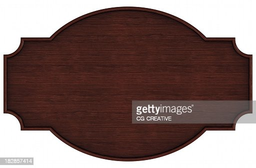 Closeup portrait of a blank dark wooden nameplate on white
