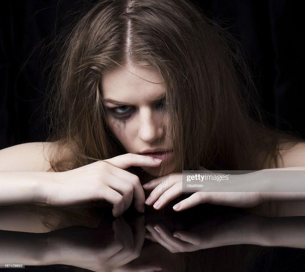 close-up portrait of a crazy woman : Stock Photo
