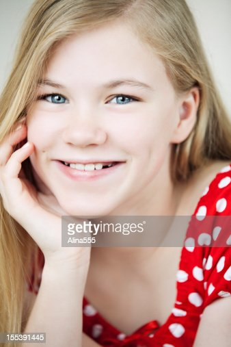 Closeup Portrait Of A Cute 11year Old Girl Stock Photo