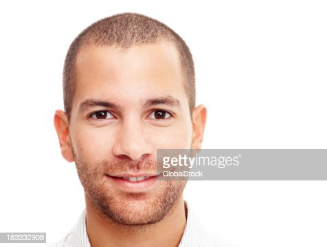 Closeup portrait of a happy guy isolated on white