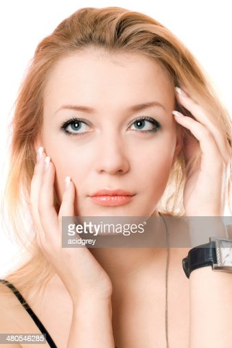 Closeup portrait of a pensive blonde : Stock Photo