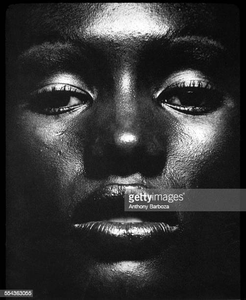 Closeup portrait of actress musician and model Grace Jones New York 1970s