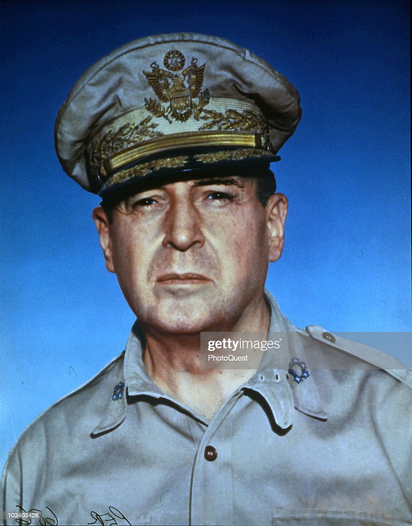 Closeup portrait of American Army General Douglas MacArthur Supreme Commander of Allied forces during World War II circa 1945