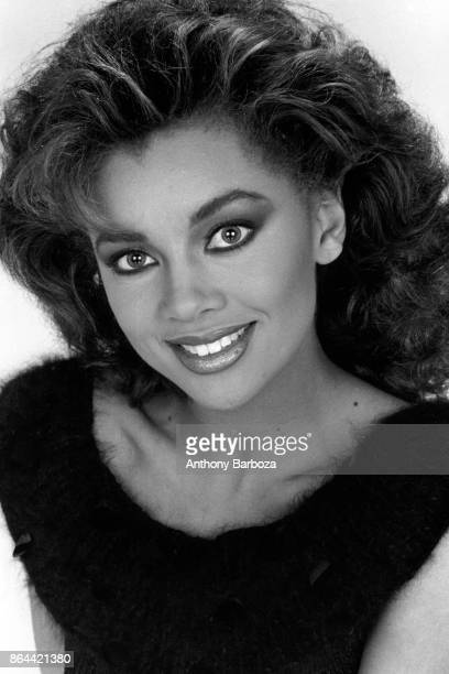 Closeup portrait of American model actress and singer Vanessa Williams mid 1980s or early 1990s