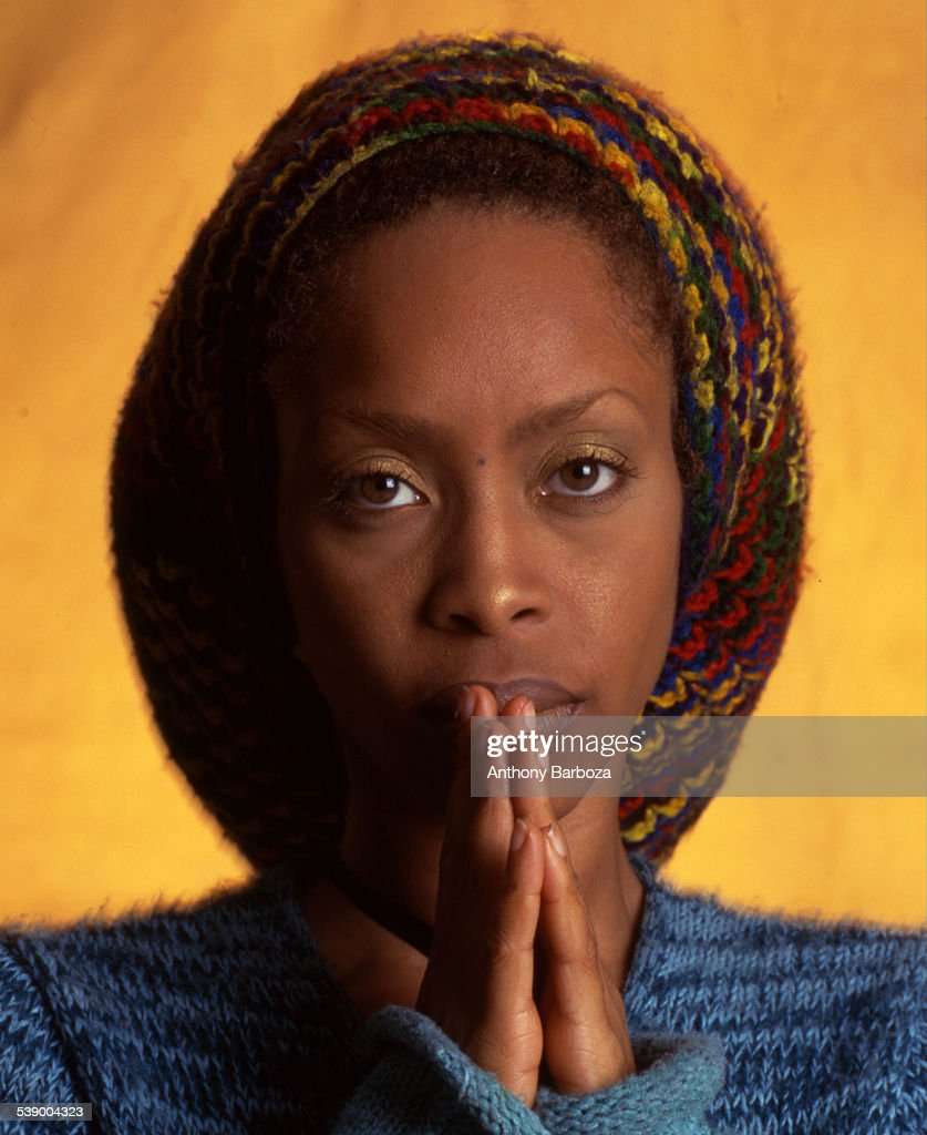 Closeup portrait of American RB jazz and pop singer Erykah Badu New York 2000