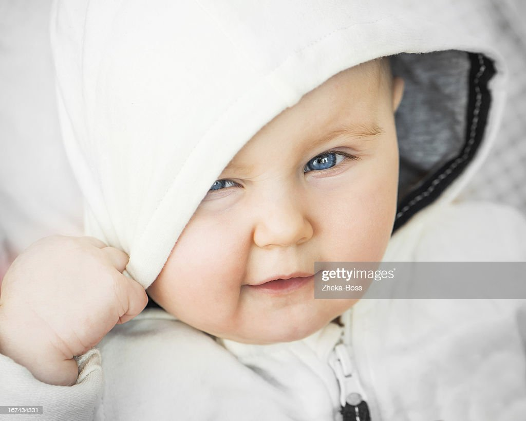 closeup portrait of beautiful baby : Stock Photo