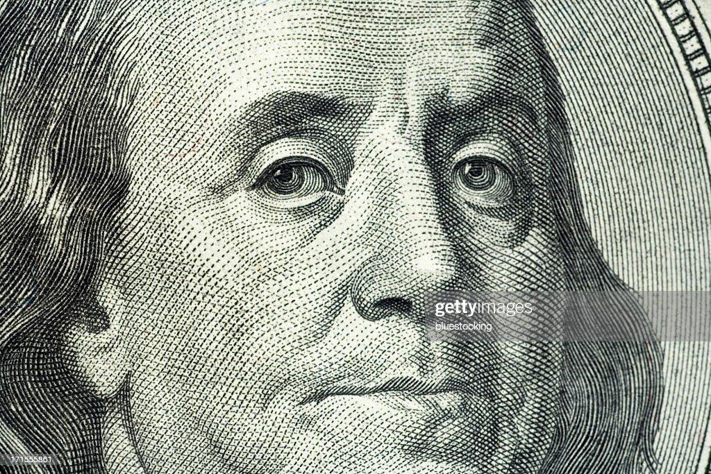 Closeup portrait of Benjamin Franklin on hundred dollar bill : Stock Photo