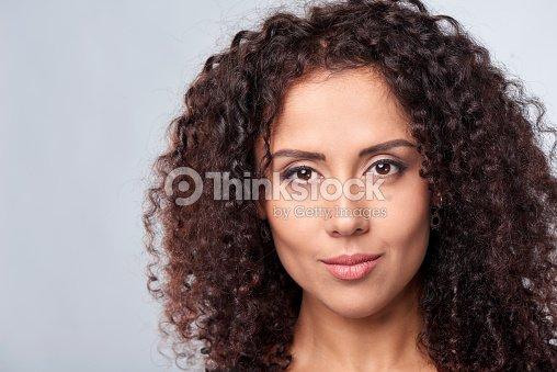 Closeup portrait of curly female : Foto stock